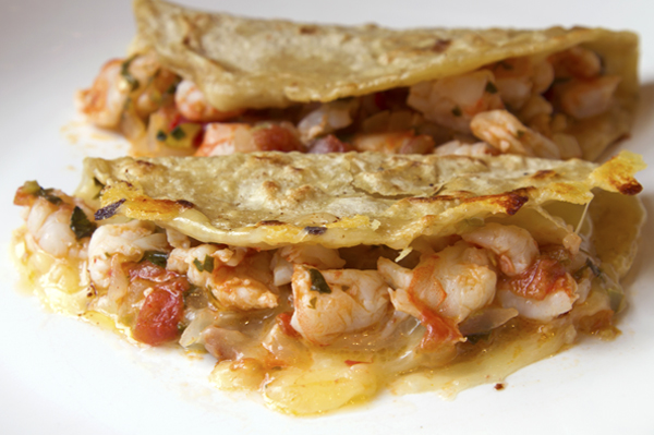 Rick Bayless | Cheesy Shrimp Tacos