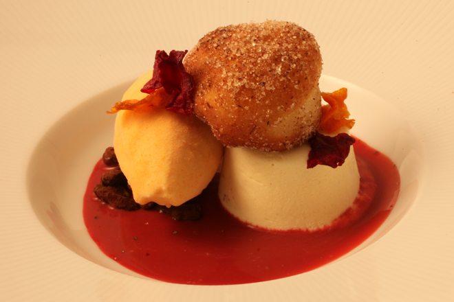 "ENCHANTING Ricotta Fritter, Carrot Ice Cream: Warm little ""doughnut"" filled with homemade goat's milk ricotta, caramelized carrot ice cream, Nichols Farm sweet beet crema, frozen sabayon, cocoa-dusted walnuts"