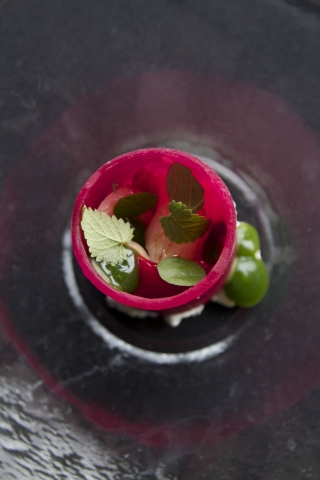 Curtis Duffy's Hamachi, Prickly Pear and Hoja Santa