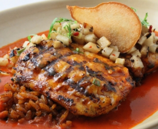 Striped Bass with Guajillo-Pear Sauce