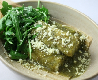 Swiss Chard Tamales with serrano chiles, cilantro, parsley and tangy tomatillo sauce.
