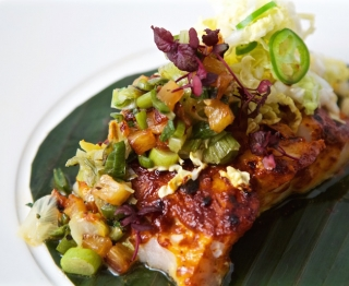 "Wood oven-roasted Baja black cod with ""pastor"" marinade, sweet and sour pineapple-shiso salsa, Napa ""salad"""