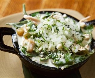 Grilled Gunthorp chicken breast, roasted poblano rajas, wild greens, potato, charred tatume, crema, homemade fresh cheese