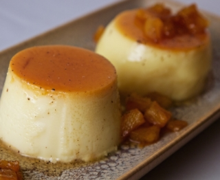 Duo of caramel custards: pineapple-black pepper flan with rummy caramelized pineapple chunks and classic Mexican vanilla