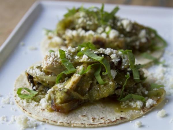 Rick Bayless Chicken Tacos with Sorrel Salsa Verde