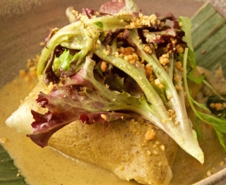 Fresh-ground corn masa tamal, chicken-poblano filling, macadamia green mole (tomatillo, epazote, poblano), Bayless Garden greens, macadamia nut crunch