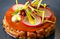 Tartares (ribeye cap, yellowfin tuna), east-west spice, citrus, nutty sesame salsa macha, kohlrabi crunch