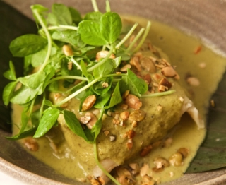Fresh-ground corn masa tamal, duck carnitas filling, green mole (pumpkinseeds, poblanos, tomatillos), peashoots.
