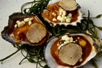Poached oysters (pasilla chile, truffle, black garlic), crema, creamy foie gras, paddlefish caviar, truffle slices