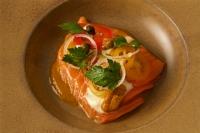 Alaskan king salmon, sea urchin, roiling flavors of Veracruz (tomatoes, jalapeños, capers, olive oil, herbs)