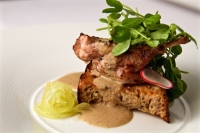 Quail, Escabeche | Grill-roasted Texas cross quail, wine escabeche (olive oil, caramelized onion, sweet spices, sherry, wine and pineapple vinegars), crispy peasant bread, pea shoots, radishes