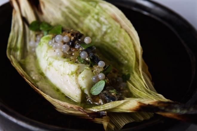 Mextlapique | Corn husk-roasted Alaskan black cod, herby butter (lavender, parsley, dwarf basil), salsa of orange güero, garlic and snails, caramelized eggplant purée, snail caviar