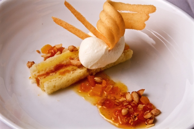 Bien Me Sabe | Airy cake, Chartreuse drizzle, orange flower pastry cream, candied ginger & apricot, sugared nuts