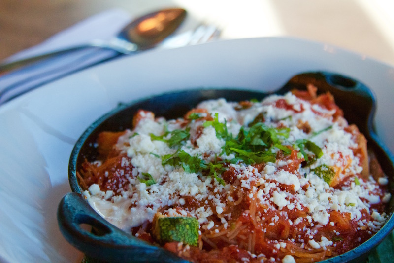 Toasted vermicelli noodles simmered with roasted tomato, smoky chipotle, grilled tatume squash, thick cream, añejo cheese