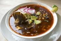 Wood oven-roasted sunchokes & oyster mushrooms, pozole corn, red chile broth, shredded Savoy cabbage, avocado, radishes, oregano