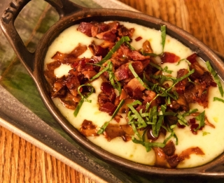 Otter Creek organic cheddar, chipotle-glazed mushrooms, bacon and epazote