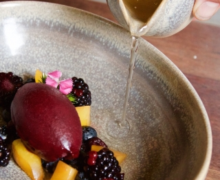 Blueberry-lavender sorbet, local fruit (plums, black raspberries, blueberries), sparkling lemon bay broth