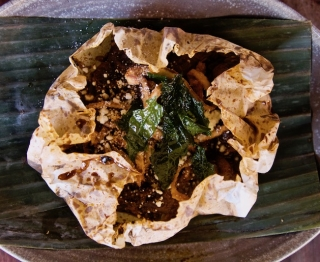 Slow-cooked parchment package of wild and woodland mushrooms, dark pasilla chile sauce, chochoyotes (corn masa dumplings) and greens