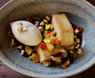 "Tender local sweet corn cake (with Hopi corn meal), sweet corn ice cream (with Torres orange), Michigan plums, sweet corn ""candy"""